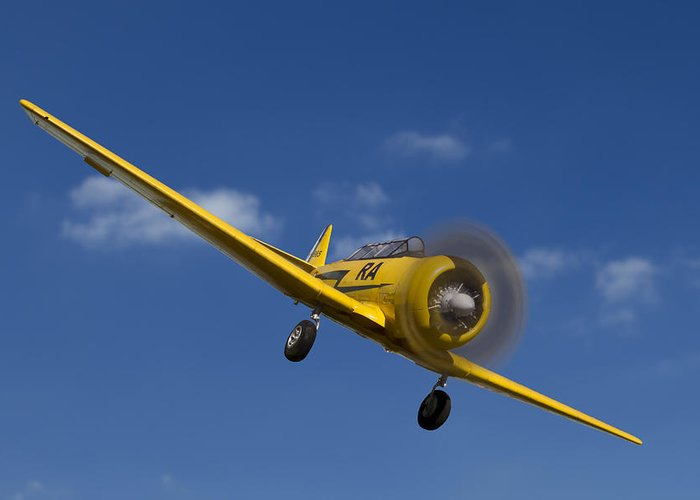 Airplane Greeting Card featuring the photograph North American T6 by Debra and Dave Vanderlaan