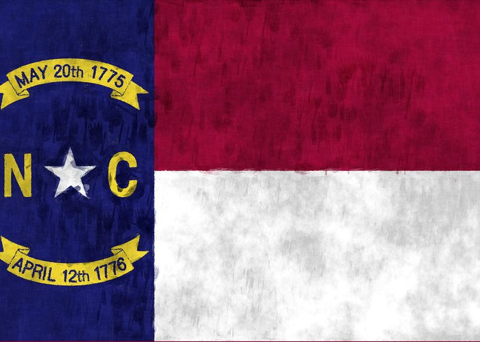 America Greeting Card featuring the digital art North Carolina Flag by World Art Prints And Designs