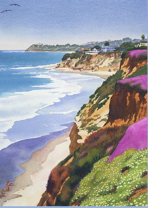 North County Greeting Card featuring the painting North County Coastline by Mary Helmreich
