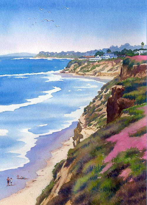 North County Greeting Card featuring the painting North County Coastline Revisited by Mary Helmreich