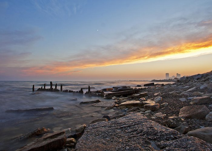 Www.cjschmit.com Greeting Card featuring the photograph North Point Sunset by CJ Schmit