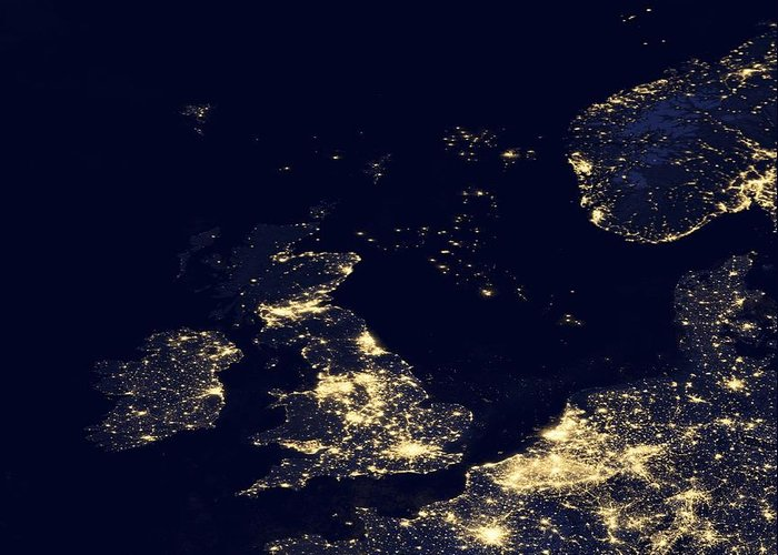 Earth Greeting Card featuring the photograph North Sea At Night, Satellite Image by Science Photo Library