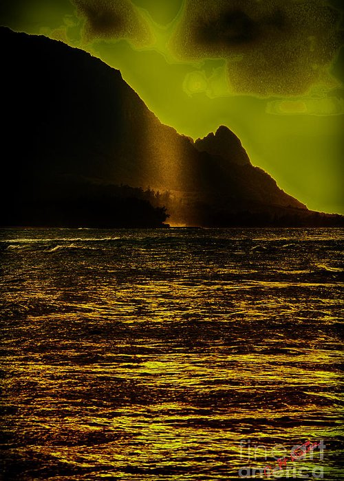 Charles Davis Greeting Card featuring the digital art North Shore Kauai by Charles Davis