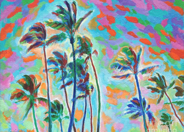 Palms Greeting Card featuring the painting North Shore Trades by David Friedman