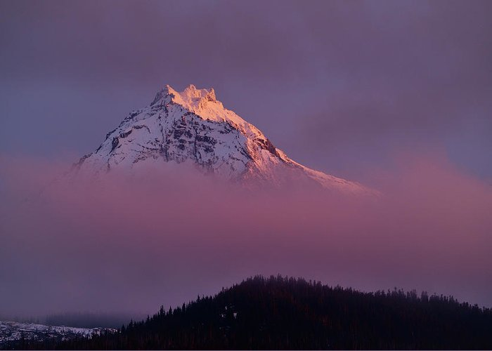 Outdoors Greeting Card featuring the photograph North Sister Volcano,last Evening Light by Rhz