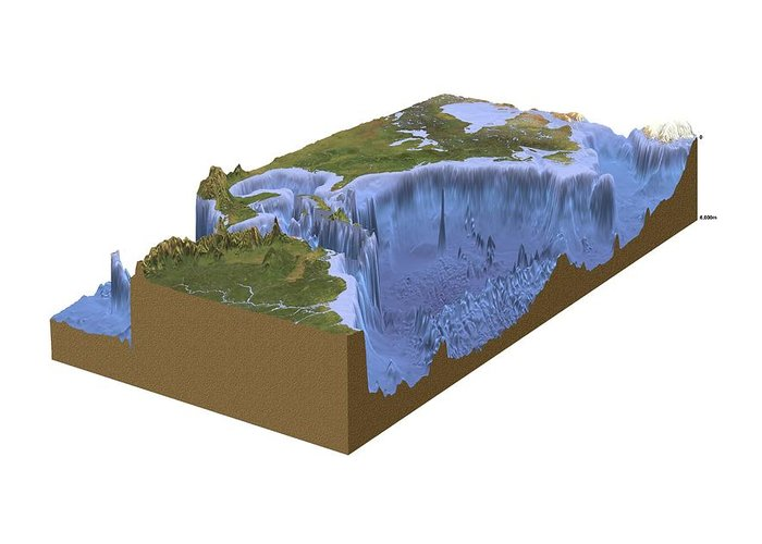 Continent Greeting Card featuring the photograph North-western Atlantic, Bathymetry Model by Science Photo Library