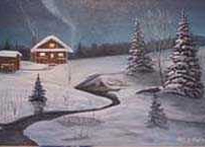 Rick Huotari Greeting Card featuring the painting North Woods Cabin by Rick Huotari