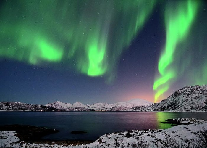 Tranquility Greeting Card featuring the photograph Northern Lights And Moonlit Landscape by John Hemmingsen
