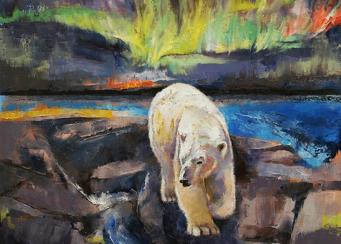 Arctic Greeting Card featuring the painting Northern Lights by Michael Creese
