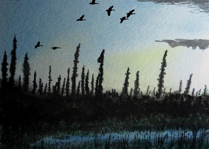 Limit North Geese Night Twilight Nightfall Evening Sunset Blue Yellow Northern Migration Waterfowl Dusk Pine Trees Tree Black Spruce Evergreen Landscape Sky Kyllo Silhouette Luminous Luminism Hunting Outdoors Outdoor Hunt Manly Masculine Male Canada Canadian Rugged Watercolor Painting Pond Lake Water Reeds Cattails Swamp Bog Cloud Clouds Calm Peace Peaceful Rest Restful Relaxing Quiet Silent ice Pruned Bush Rough Backcountry Wilderness Arctic Taiga Tundra Edge Greeting Card featuring the painting Northern Limit by R Kyllo