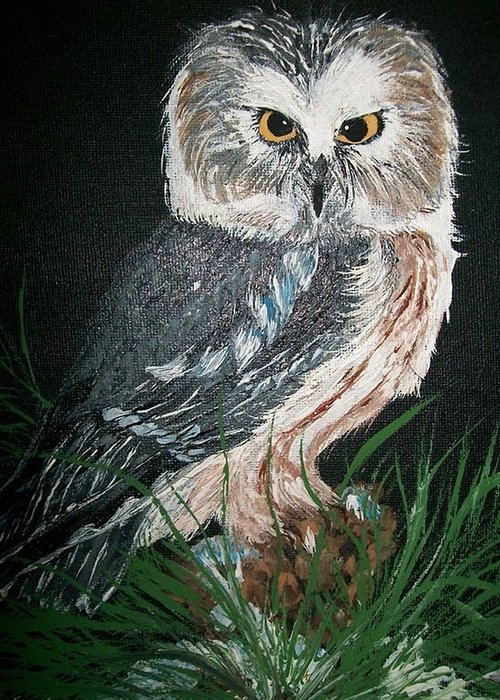 Feather Greeting Card featuring the painting Northern Saw-whet Owl by Sharon Duguay