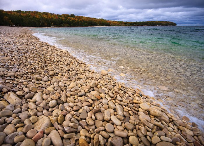 Schoolhouse Beach Greeting Card featuring the photograph Northern Shores by Adam Romanowicz
