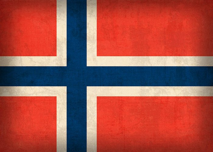 Norway Flag Distressed Vintage Finish Norwegian Oslo Scandinavian Europe Country Nation Greeting Card featuring the mixed media Norway Flag Distressed Vintage Finish by Design Turnpike