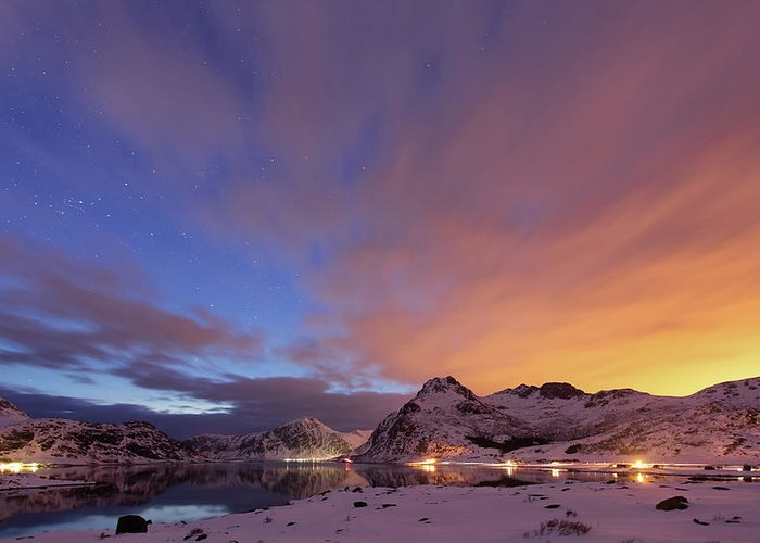 Scenics Greeting Card featuring the photograph Norway Lofoten At Night With Burning Sky by Spreephoto.de