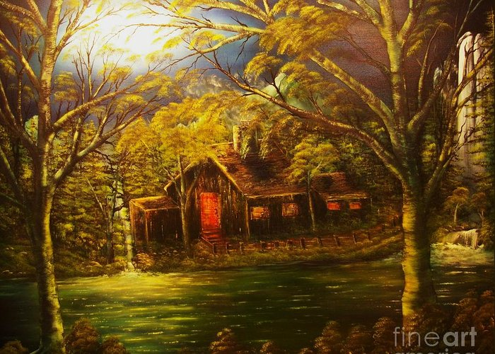 Cottage Greeting Card featuring the painting Norwegian Evening Glow- Original Sold - Buy Giclee Print Nr 31 Of Limited Edition Of 40 Prints by Eddie Michael Beck
