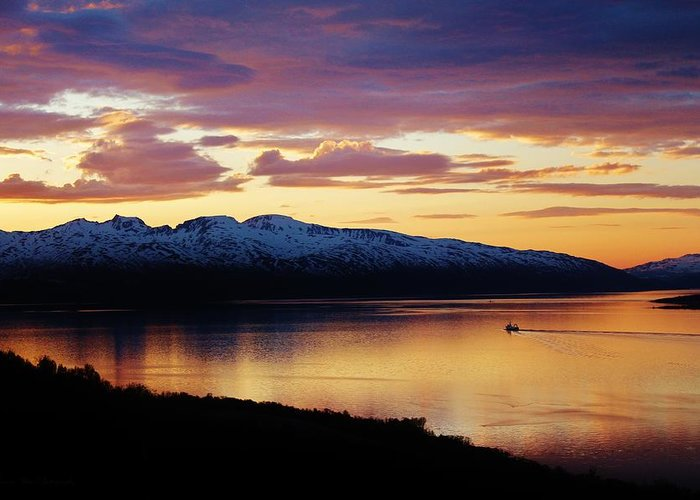 Norway Greeting Card featuring the photograph Norwegian Fjordland Sunset by David Broome