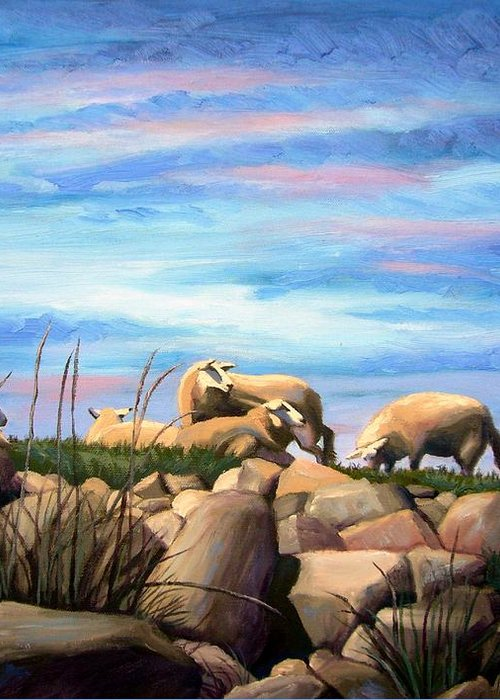 Sheep Greeting Card featuring the painting Norwegian Sheep by Janet King