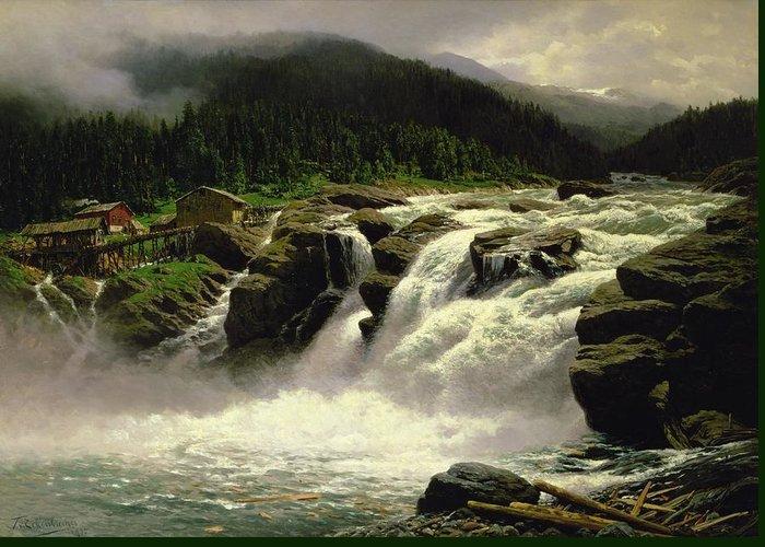 Norwegian Waterfall Greeting Card featuring the painting Norwegian Waterfall by Karl Paul Themistocles van Eckenbrecher