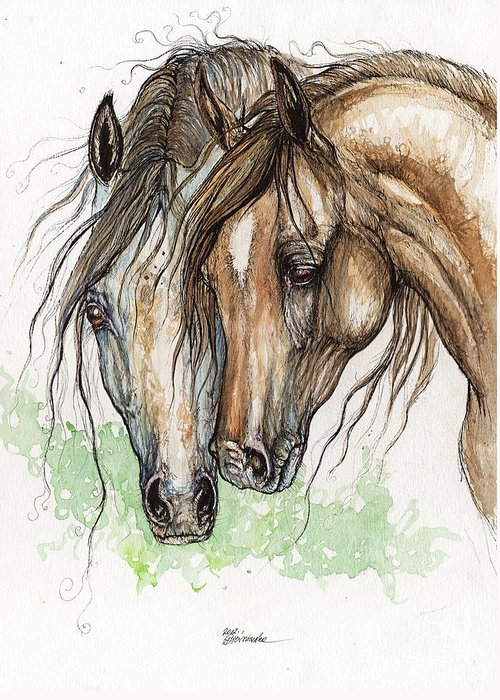 Horse Greeting Card featuring the painting Nose To Nose Watercolor Painting by Angel Ciesniarska