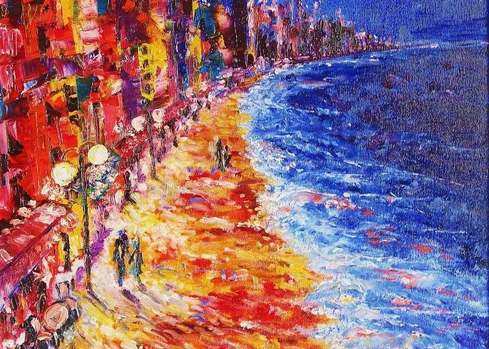 Contemporary Impressionism Expressionism Greeting Card featuring the painting Nostalgic Night by Helen Kagan