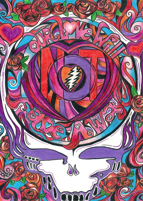 The Grateful Dead Greeting Card featuring the drawing Not Fade Away by Kevin J Cooper Artwork