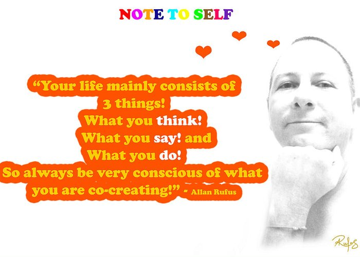 Inspirational Greeting Card featuring the mixed media Note To Self 3 Things by Allan Rufus