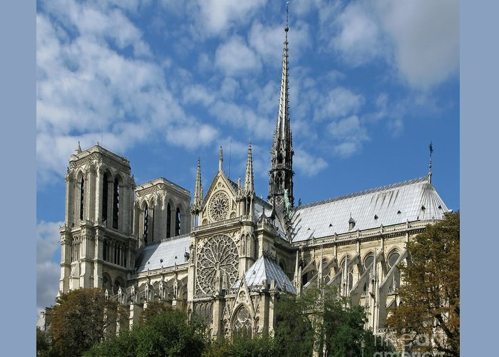 Notre Dame Greeting Card featuring the photograph Notre Dame Cathedral by Ann Horn