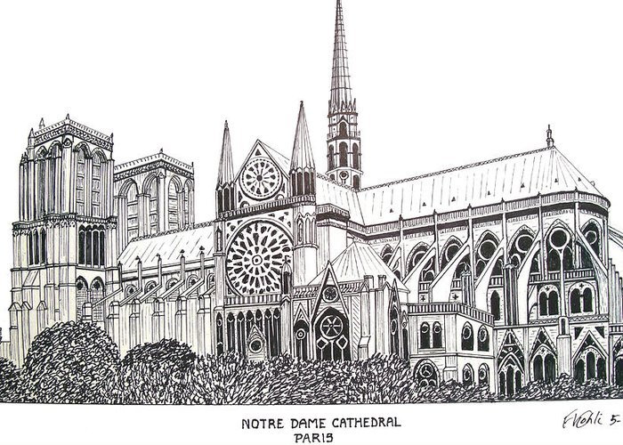 Ink Drawings Greeting Card featuring the drawing Notre Dame Cathedral - Paris by Frederic Kohli