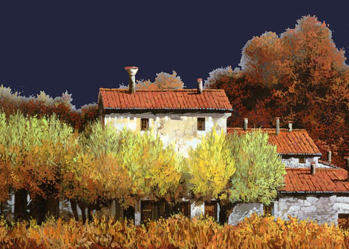Vineyard Greeting Card featuring the painting Notte In Campagna by Guido Borelli