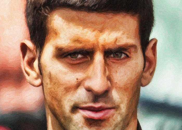 Novak Djokovic Greeting Card featuring the painting Novak Djokovic by Nishanth Gopinathan