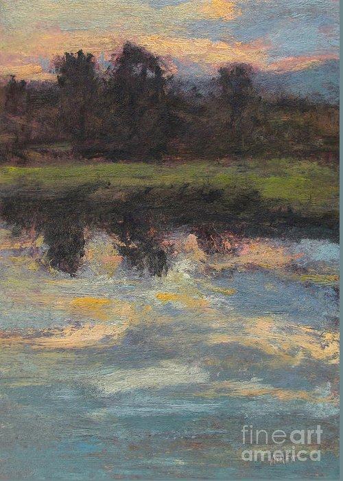 November Reflection - Hudson Valley Greeting Card featuring the painting November Reflection - Hudson Valley by Gregory Arnett