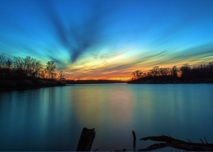 Hdr Greeting Card featuring the photograph November Sunset by Thomas Sellberg
