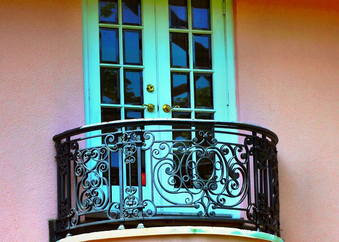I Found This Old Balcony On A Stucco House In Connecticut. It Is Unique With Is Beautiful Old Railing Along The Outer Edge And The Lovely French Doors. It Is A Nice Little Private Are Off A Room In The House Especially Being On The Second Floor Of The Home. Greeting Card featuring the photograph Now Where Is Juliet by Judy Palkimas