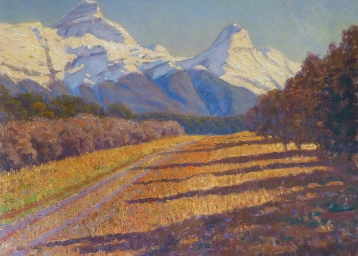 Mountains Greeting Card featuring the painting Nox And Chaos by Terry Perham
