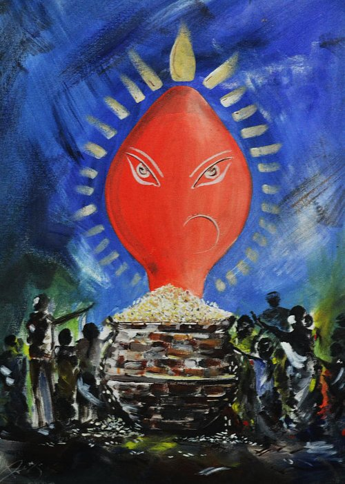 Greeting Card featuring the painting Nuakhai by Premchand Rout