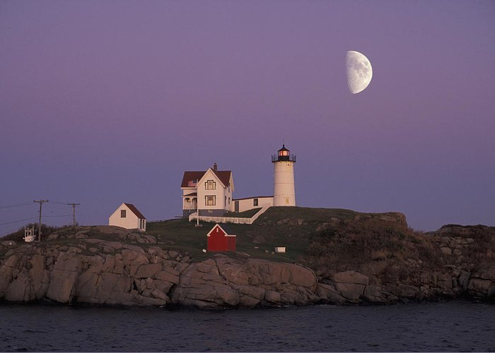 Moon Greeting Card featuring the photograph Nubble Light by Christian Heeb