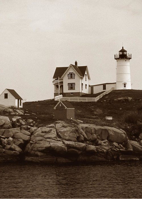 Lighthouses Greeting Card featuring the photograph Nubble Light by Skip Willits