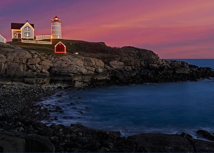 Nubble Lighthouse Greeting Card featuring the photograph Nubble Lighthouse At Sunset by Susan Candelario