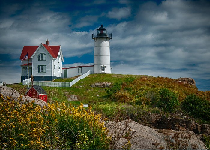 Nubble Greeting Card featuring the photograph Nubble Lighthouse by Fred LeBlanc