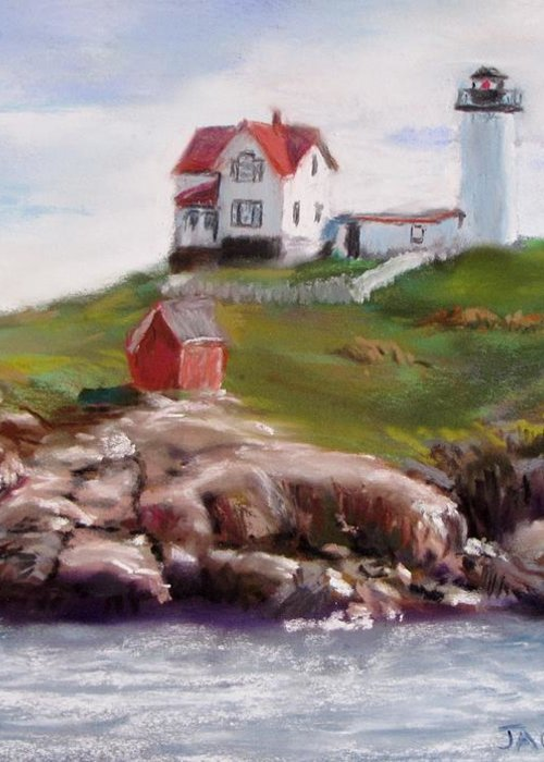 Lighthouse Greeting Card featuring the painting Nubble Lighthouse In Pastel by Jack Skinner