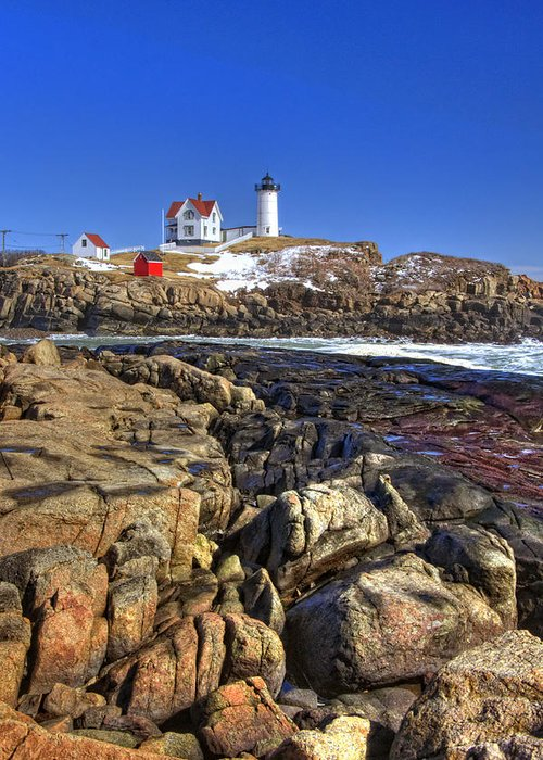 Water Greeting Card featuring the photograph Nubble Lighthouse by Joann Vitali