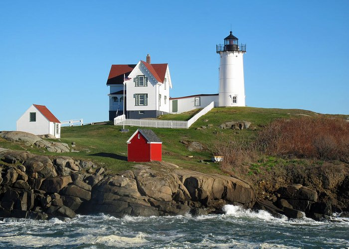 Seascape Greeting Card featuring the photograph Nubble Lighthouse One by Barbara McDevitt