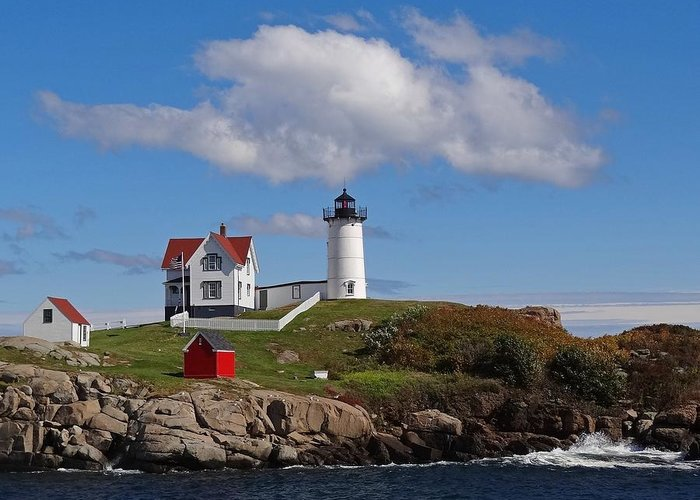 Tranquility Greeting Card featuring the photograph Nubble Lighthouse by Photo Jacques Trempe