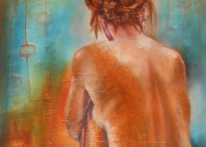 Female Greeting Card featuring the painting Nude 3 by Susan Goh