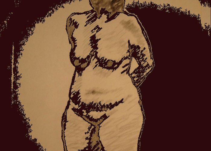 Genio Greeting Card featuring the mixed media Nude Acting by Genio GgXpress