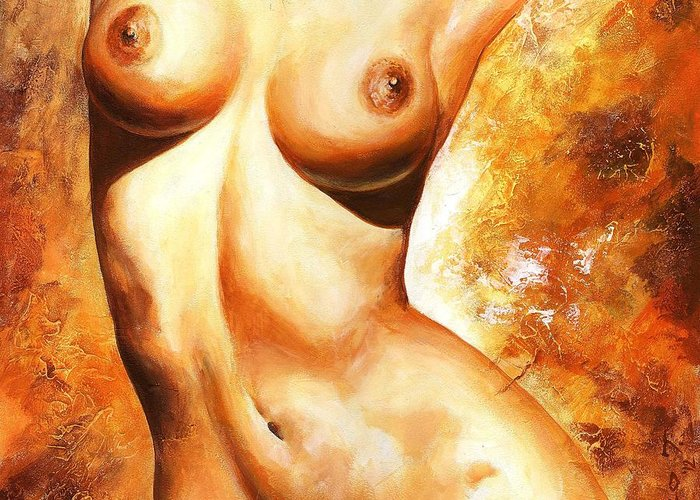 Nude Greeting Card featuring the painting Nude Details by Emerico Imre Toth