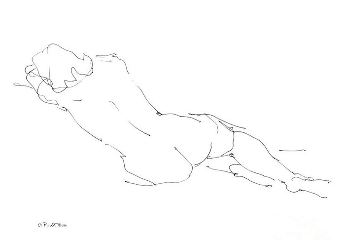 Females Greeting Card featuring the drawing Nude Female Drawings 9 by Gordon Punt
