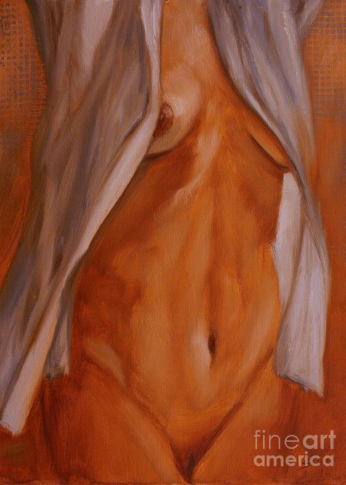 Paintings Greeting Card featuring the painting Nude In Shirt IIi by John Silver