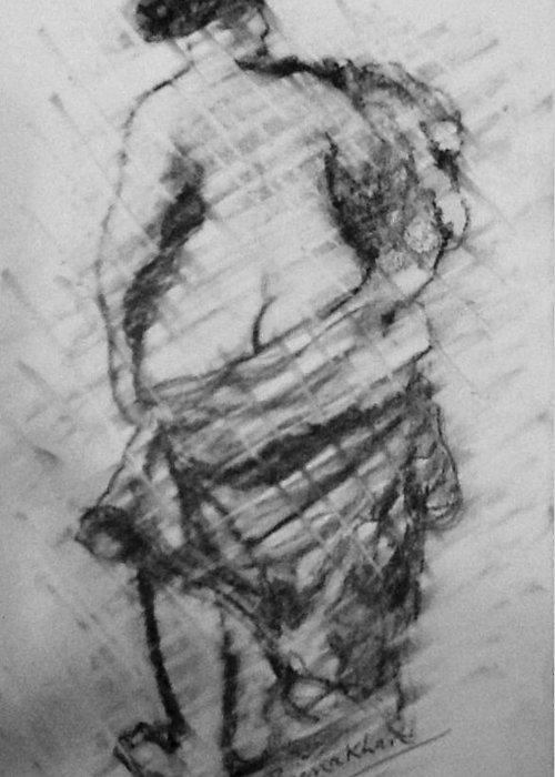 Pencil Greeting Card featuring the drawing Nude Lady by Beena Khan