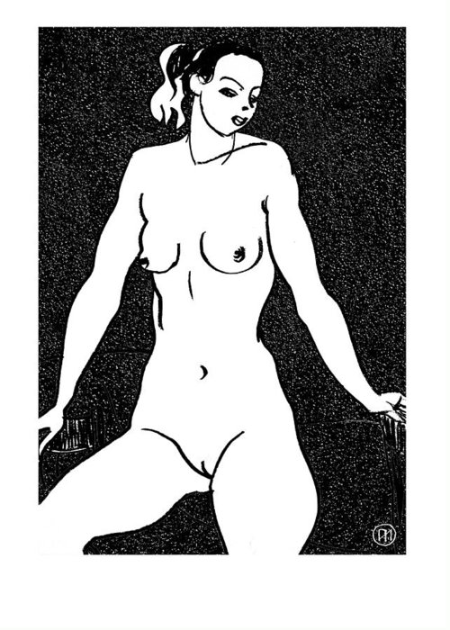 Nude Greeting Card featuring the drawing Nude Sketch 5 by Leonid Petrushin